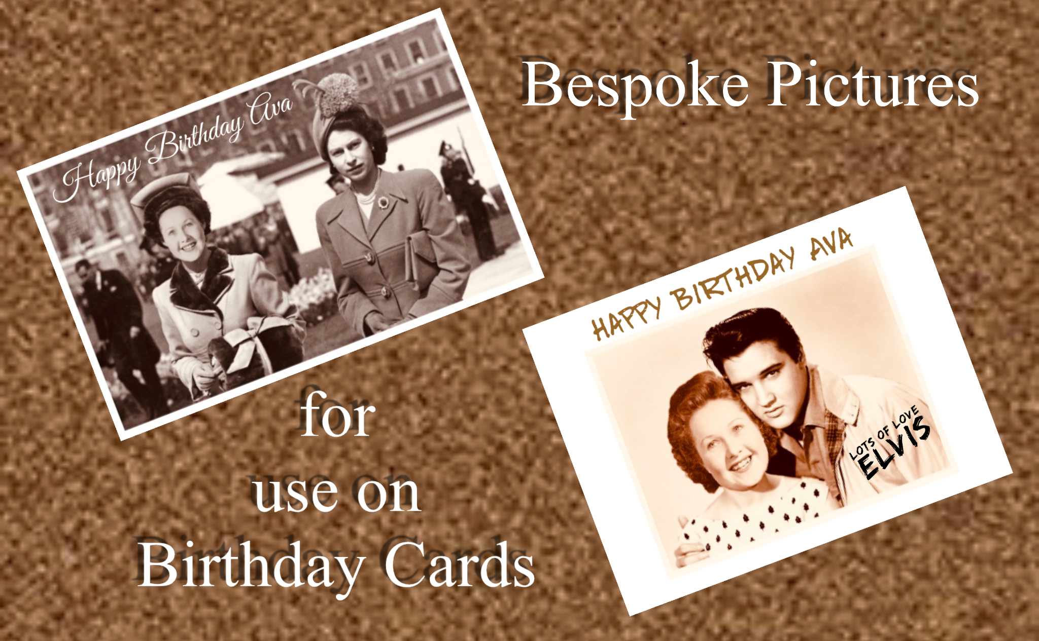 Novelty Pictures with a Celebrity for use on Cards.